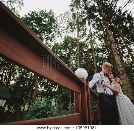 bride and groom posing on the verandah somewhere in the nature