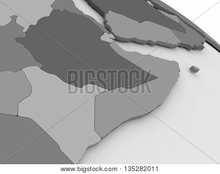 Somalia And Ethiopia On Grey 3D Map