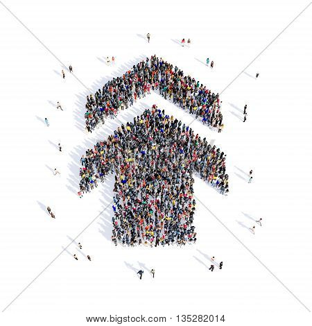 Large and creative group of people gathered together in the shape of an arrow, the direction of the image. 3D illustration, isolated, white background.