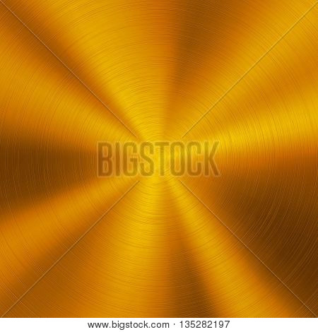 Gold abstract technology background with polished, brushed circular metal texture, chrome, silver, steel, aluminum for design concepts