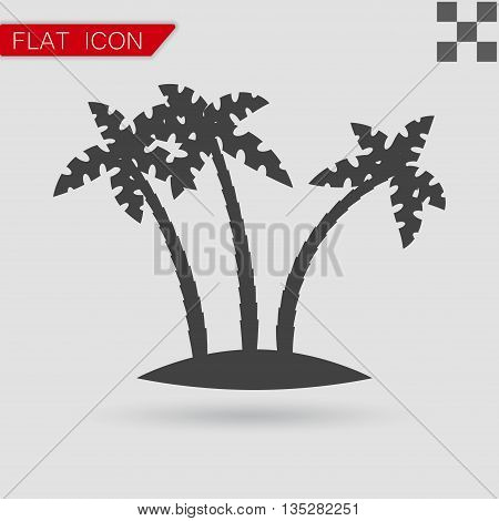 Tropical palm trees vector Flat Style with red mark