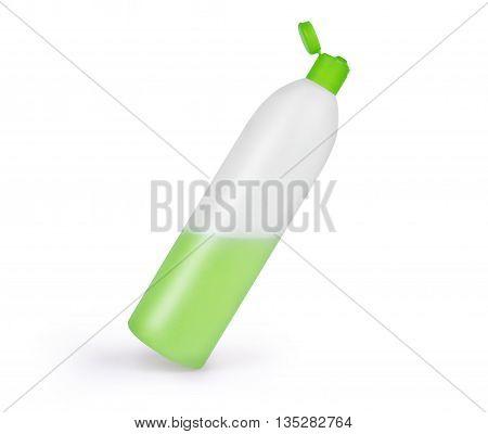 plastic shampoo bottle isolated on white background