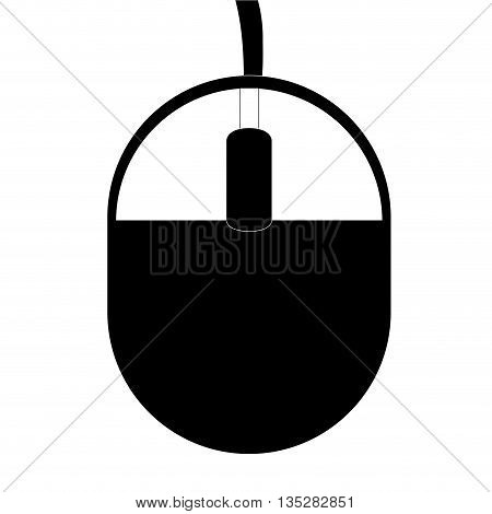 black and white computer mouse with cord vector illustration