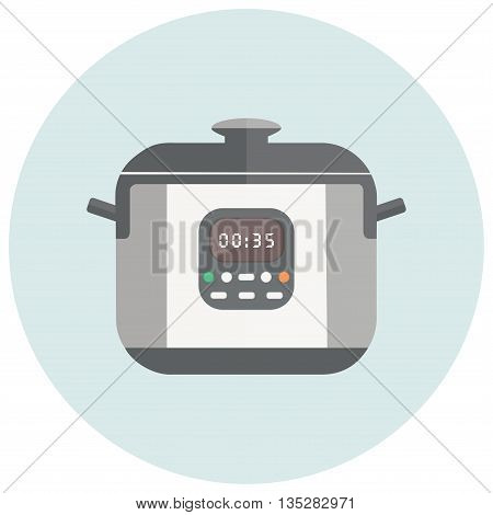 Vector illustration with robotic cooker. Multi cooker with buttons, timer, handles and lid.