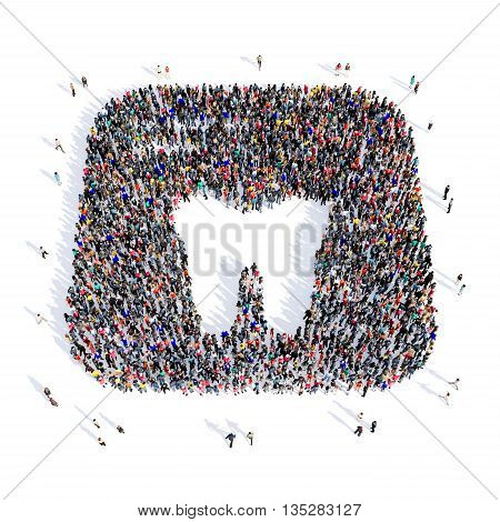 Large and creative group of people gathered together in the shape of a tooth, dentistry, image. 3D illustration, isolated, white background.