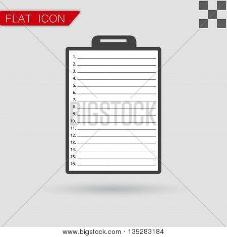Vector Clipboard with check list Flat Style with red mark