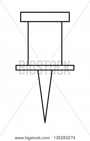 black line thumbtack vector illustration , flat style icon design