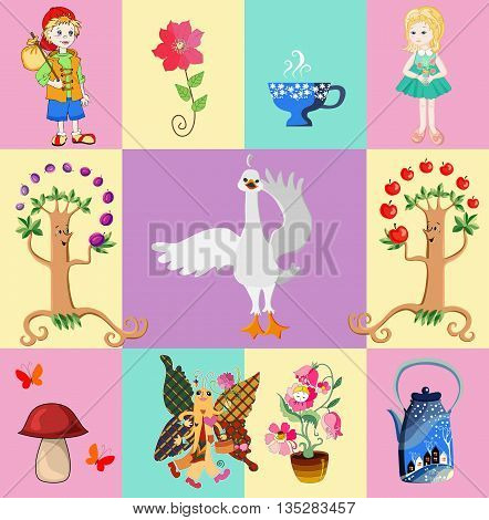 Childish seamless patchwork pattern with boy and girl, flowers, teapot and teacup, swan, mushroom, fruit trees and butterfly. Vector illustration.