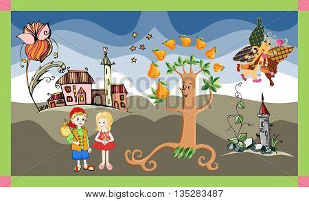 Cute card with boy and girl, pear tree, castle, flower and butterfly. Childish vector illustration.