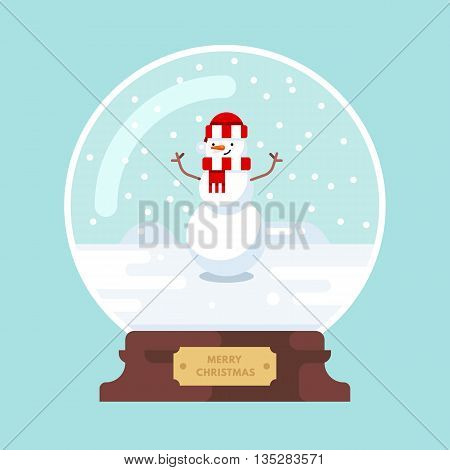 Merry christmas glass ball. Christmas snowman enjoying snow. Cute christmas greeting card with snowman. Vector illustration. Flat design style