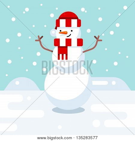 Christmas snowman enjoying snow. Cute christmas greeting card with snowman. Vector illustration. Flat design style