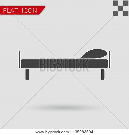 Flat Vector illustration The bed icon. Flat Style with red mark