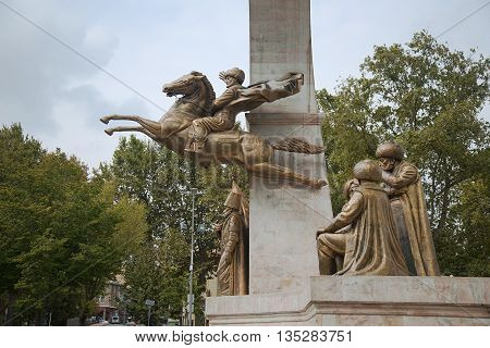 ISTANBUL, TURKEY - OCTOBER 4, 2014: The monument to Sultan Mehmed II the Conqueror in Istanbul