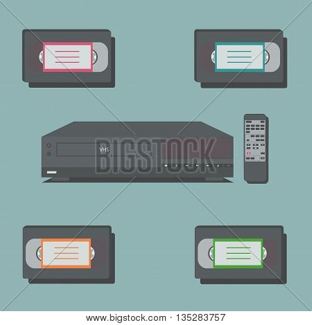 Video player with remote control and 4 video tapes.