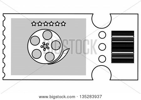 simple black line movie ticket with film reel on it vector illustration