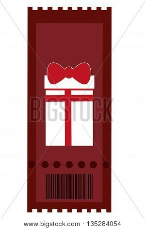 red movie ticket with gift icon on it vector illustration