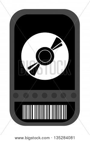 black movie ticket with cd icon on it vector illustration