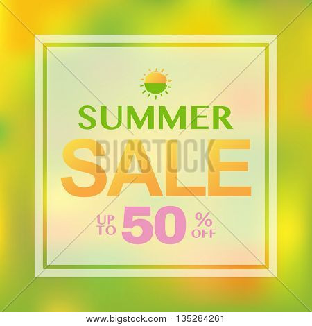 Blurred Summer Sale Banner, With Gradient Mesh, Vector Illustration