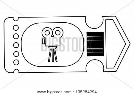 simple black line movie ticket with film projector on it vector illustration