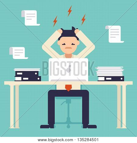 A lot of work. Stress at work. Busy time of businessman in hard working. Man tearing his hair out. New job stress work. Vector illustration. Flat design style.