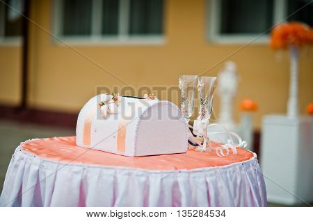 Small Pink Satin Wedding Table With Box For Money And Two Wedding Glasses For Champagne