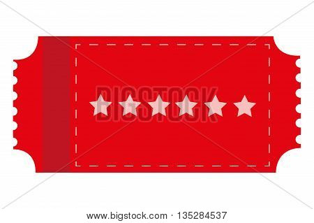 red movie ticket with six stars on it vector illustration