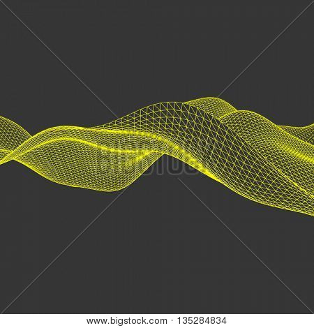 Wavy Grid Background. Abstract Vector Illustration. Connection Structure. Futuristic Technology Style. 3D Perspective Grid.