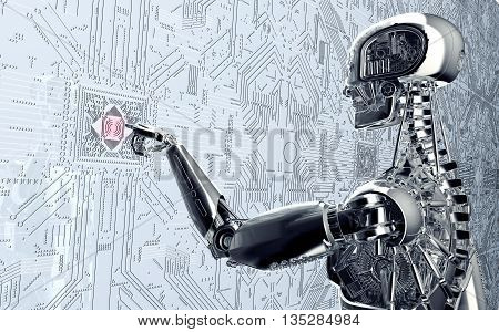 Humanoid Robot Clicking Network Computer