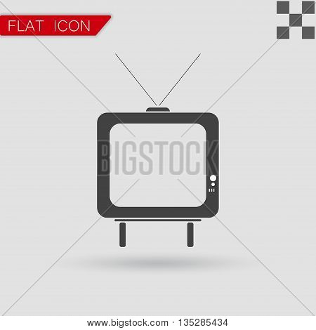 Vector TV icon picture Flat Style with red mark