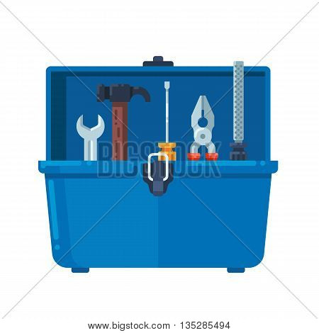 Toolbox full of equipment. Vector flat illustration isolated on white background.