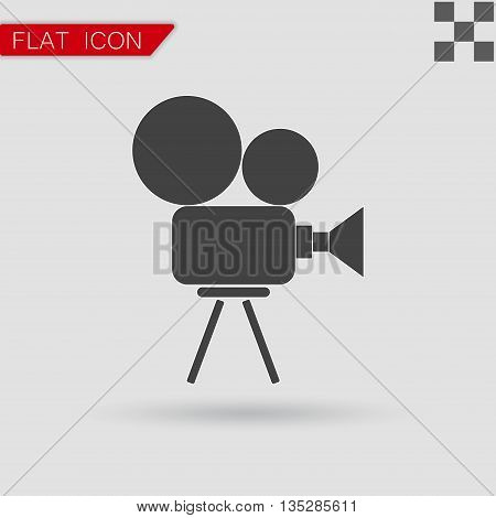 Video camera icon vector Flat Style with red mark