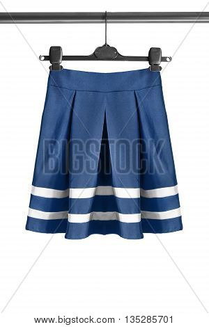 Blue sailor skirt on clothes rack isolated over white