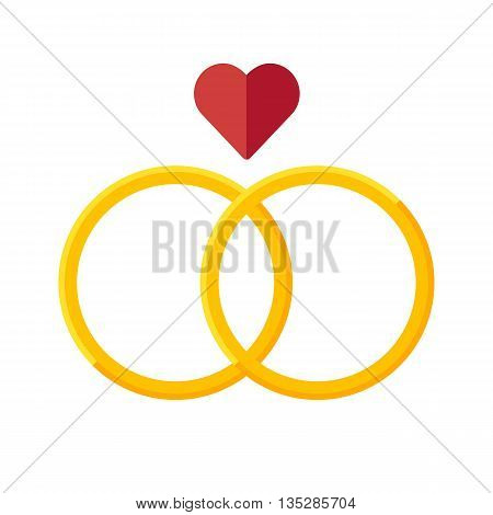 Wedding rings vector icon. Flat design style.