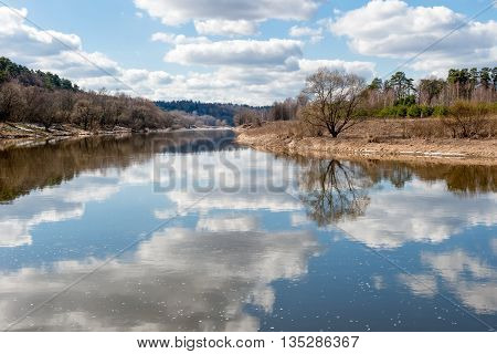 Moskva-river in the early spring on a sunny morning