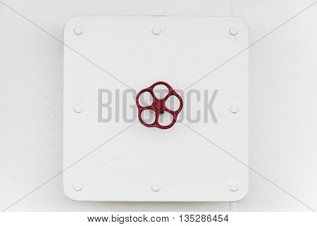Locked Square Hatch With Red Handle