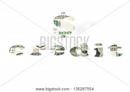 Dollar sign and the word Credit carved from hundred dollar bills isolated on white background