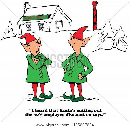 Christmas cartoon about Santa Claus reducing the employee discount.