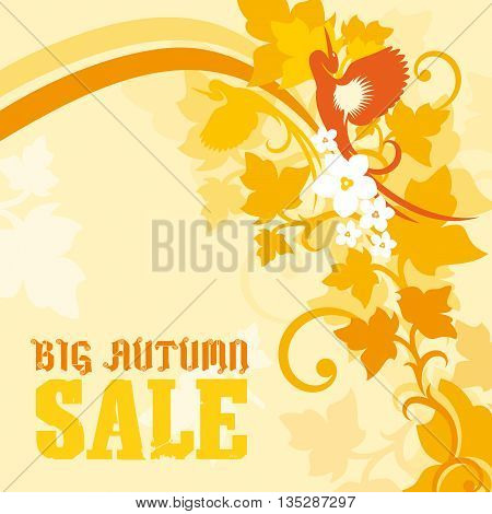 Big Autumn Sale caption on a soft yellow theme with floral artwork