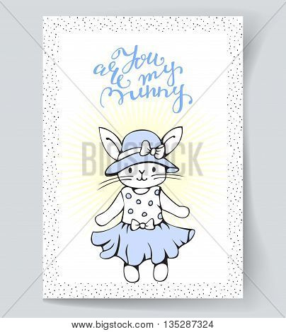Postcard with a white Bunny and hand lettering