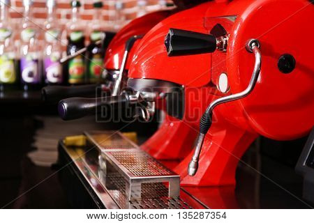 Coffee machine in cafe, close-up