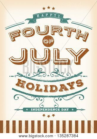 Illustration of a vintage retro poster of happy fourth of july holidays postcard for celebration of independence day