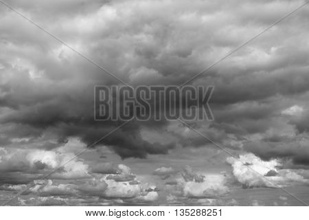 Cloudy sky over horizon. Gray clouds before a thunderstorm.