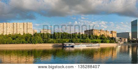Russia Moscow view of the Taras Shevchenko embankment spring evening