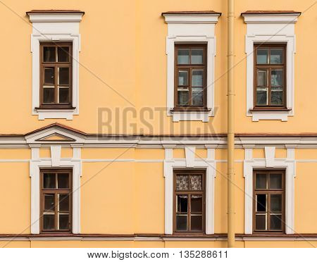 Several windows in a row on facade of Mikhaylovsky Theatre building front view St. Petersburg Russia