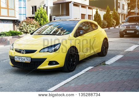 SOCHI RUSSIA - APRIL 29 2016: Opel Astra parked on the streets of Sochi.