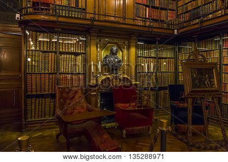 CHANTILLY, FRANCE - MAY 14, 2015: This is internal residential apartments Chantilly castle. Conde Library.