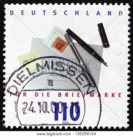 GERMANY - CIRCA 2000: a stamp printed in the Germany shows Fountain pen and Letter Stamp Day circa 2000
