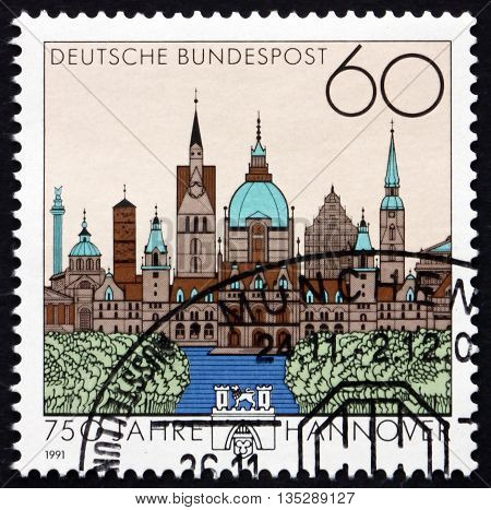 GERMANY - CIRCA 1991: a stamp printed in Germany dedicated to Hanover 750th Anniversary circa 1991