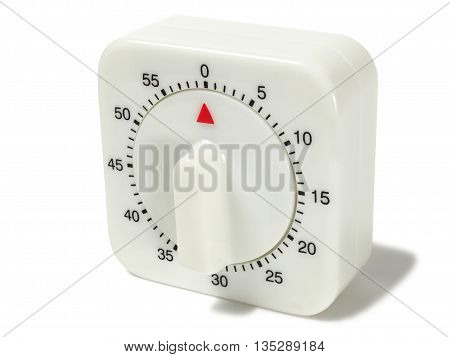 White timer with shadow on white background