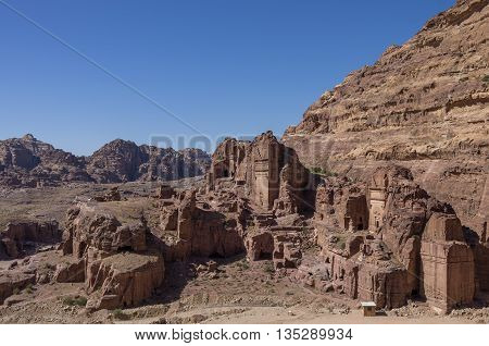 View of Royal Tomb Petra in Jordan.